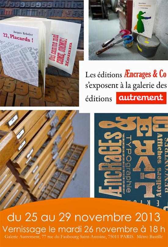 [Agenda] Editions Aencrages à la galerie Autrement