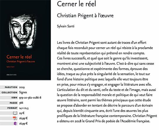 [Chronique] Sylvain Santi, Cerner le réel. Christian Prigent à l'œuvre, par Fabrice Thumerel (Dossier Prigent 1/2)